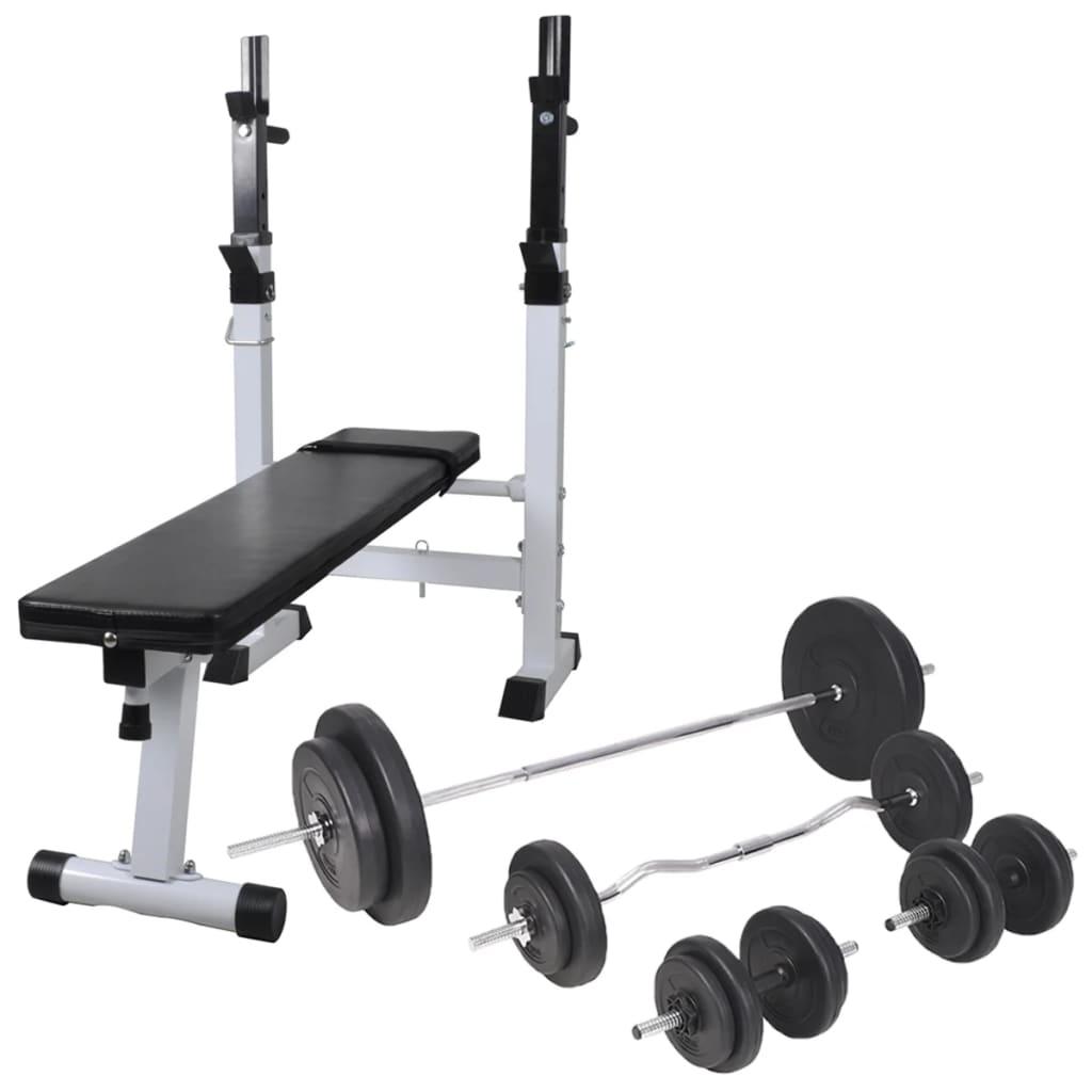 vidaXL Posilňovacia lavica so stojanom na závažie a sadou obojručných a jednoručných činiek 90 kg