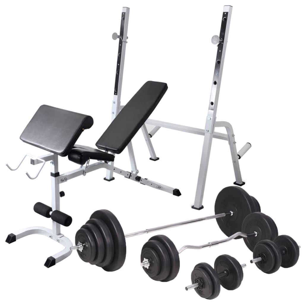 vidaXL Posilňovacia lavica, stojan na závažia a súprava činiek 120 kg