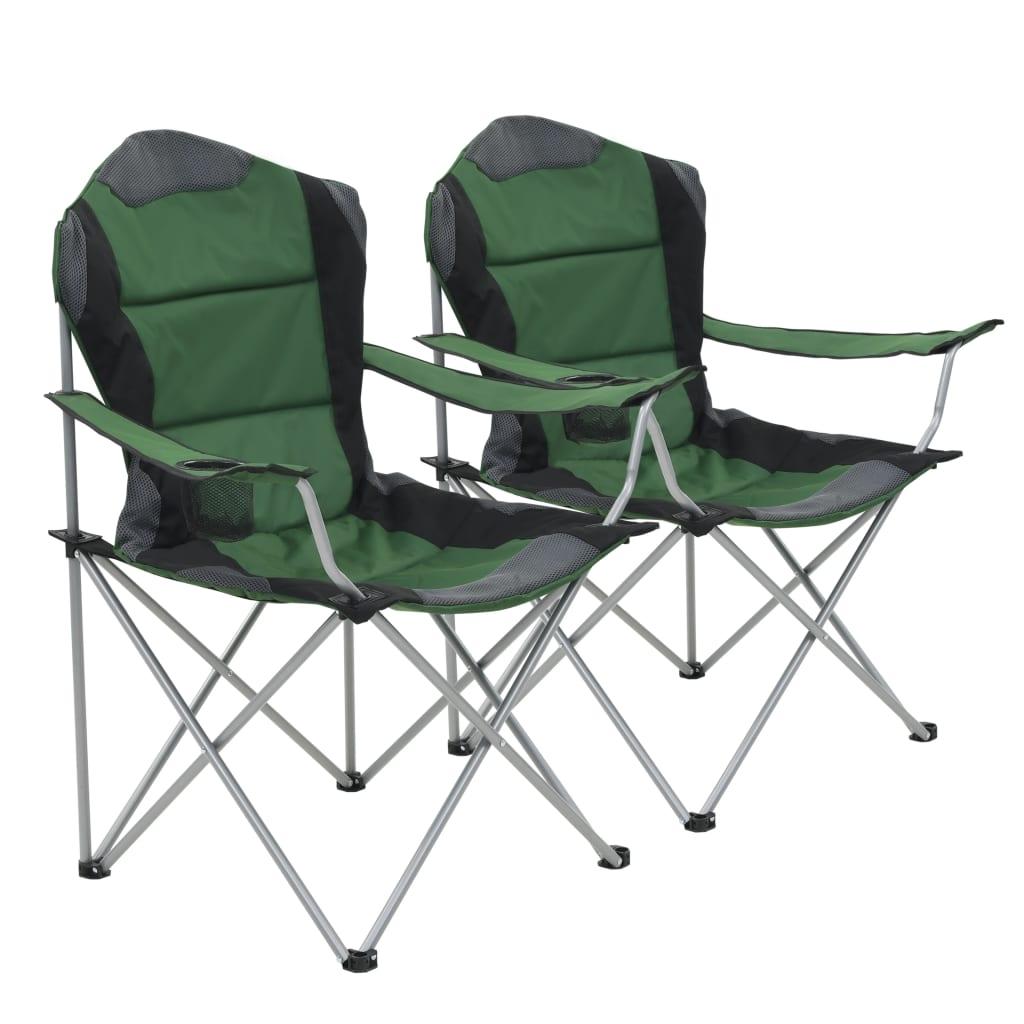 vidaXL Skladacie kempingové stoličky 2 ks 96x60x102 cm zelené