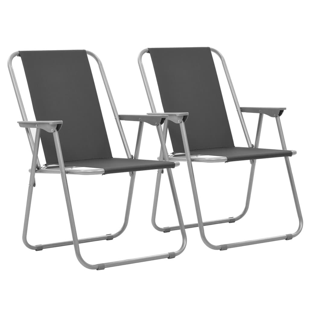 vidaXL Skladacie kempingové stoličky 2 ks 52x59x80 cm sivé