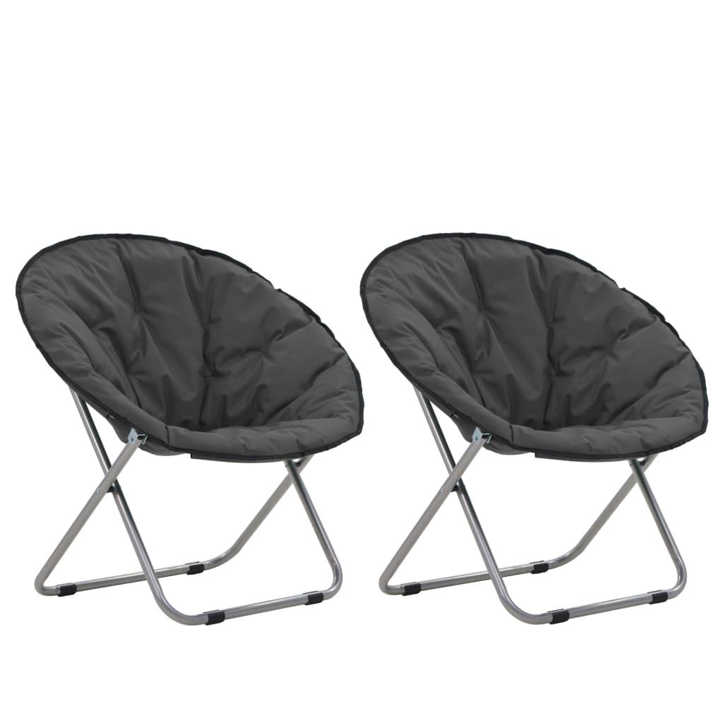 vidaXL Okrúhle skladacie stoličky 2 ks sivé