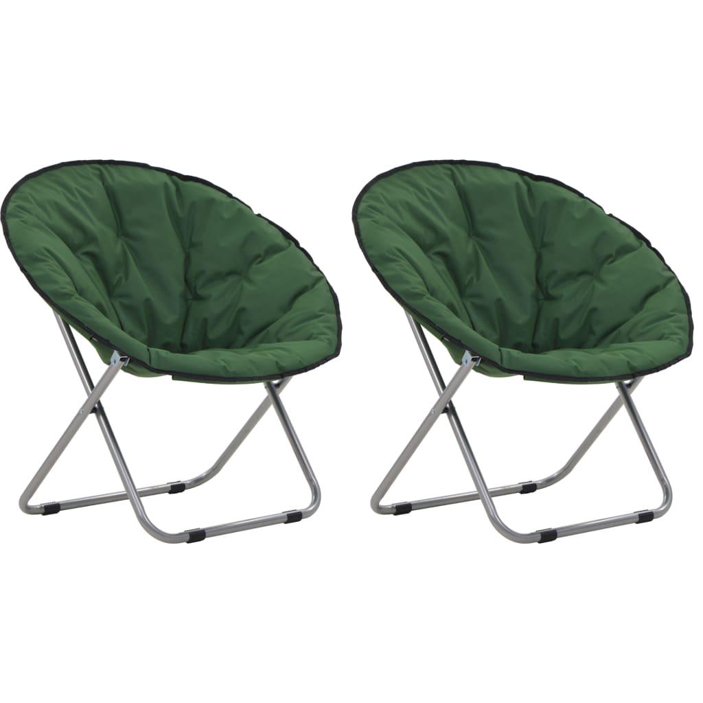 vidaXL Okrúhle skladacie stoličky 2 ks zelené