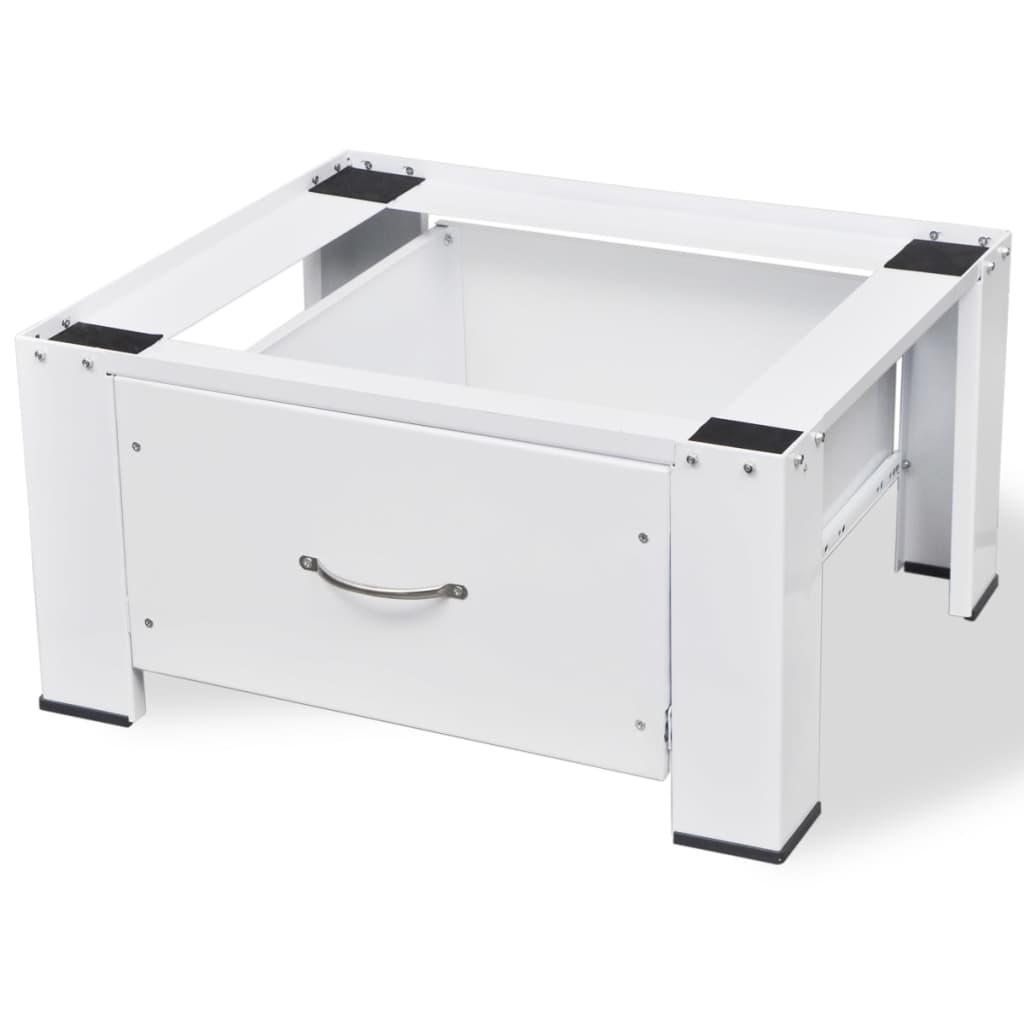 vidaXL Podstavec pod práčku, biely so zásuvkou