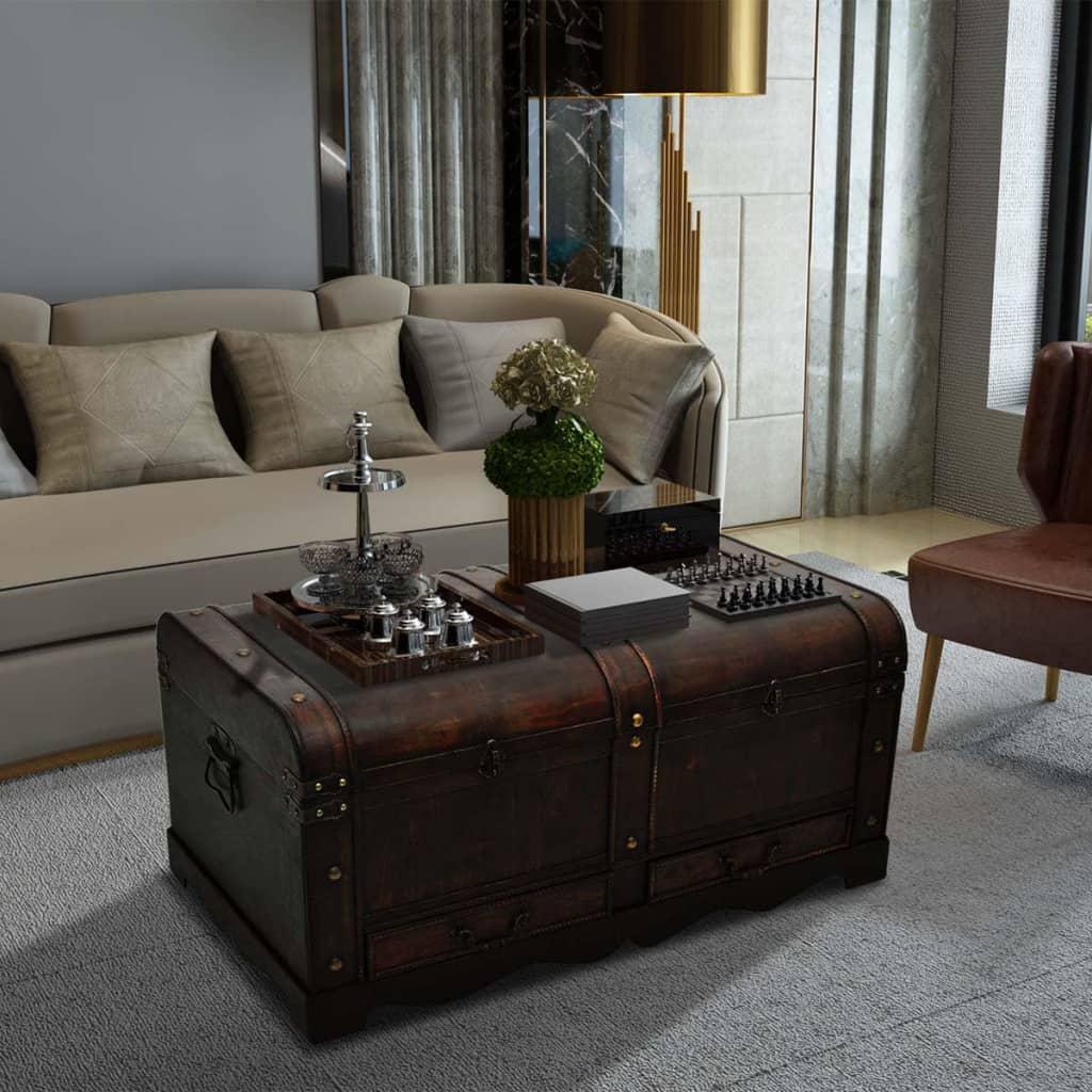 vidaXL Truhlica, drevená, hnedá 90x51x42 cm