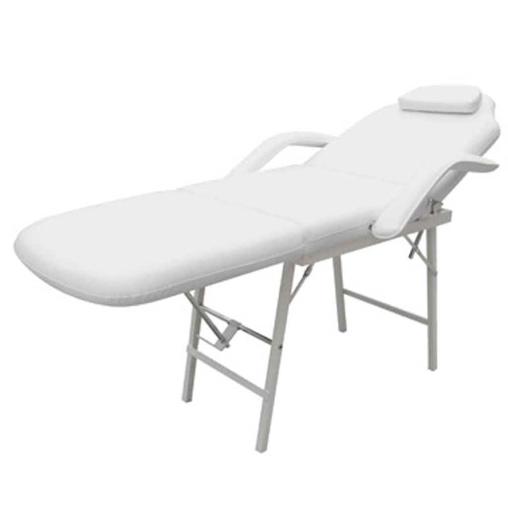 vidaXL Kozmetické ležadlo, biele, umelá koža