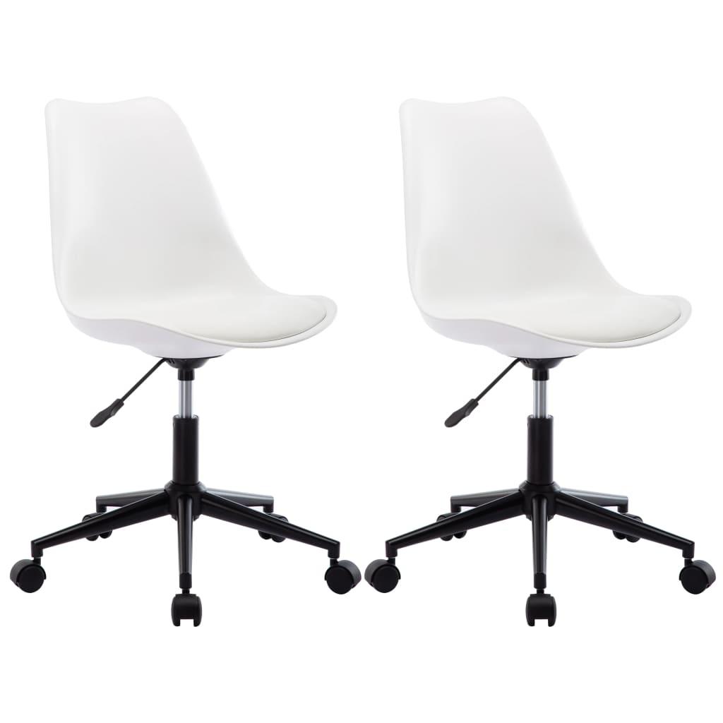 vidaXL Otočné jedálenské stoličky 2 ks biele umelá koža