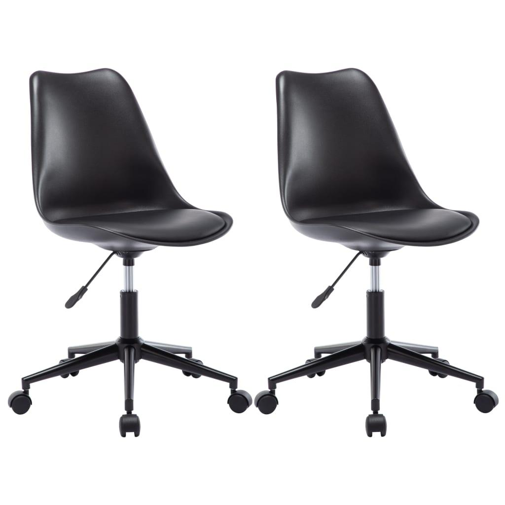 vidaXL Otočné jedálenské stoličky z umelej kože 2 ks čierne