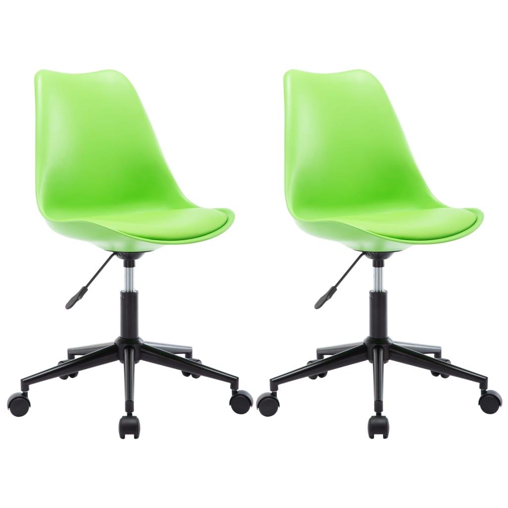 vidaXL Otočné jedálenské stoličky z umelej kože 2 ks zelené