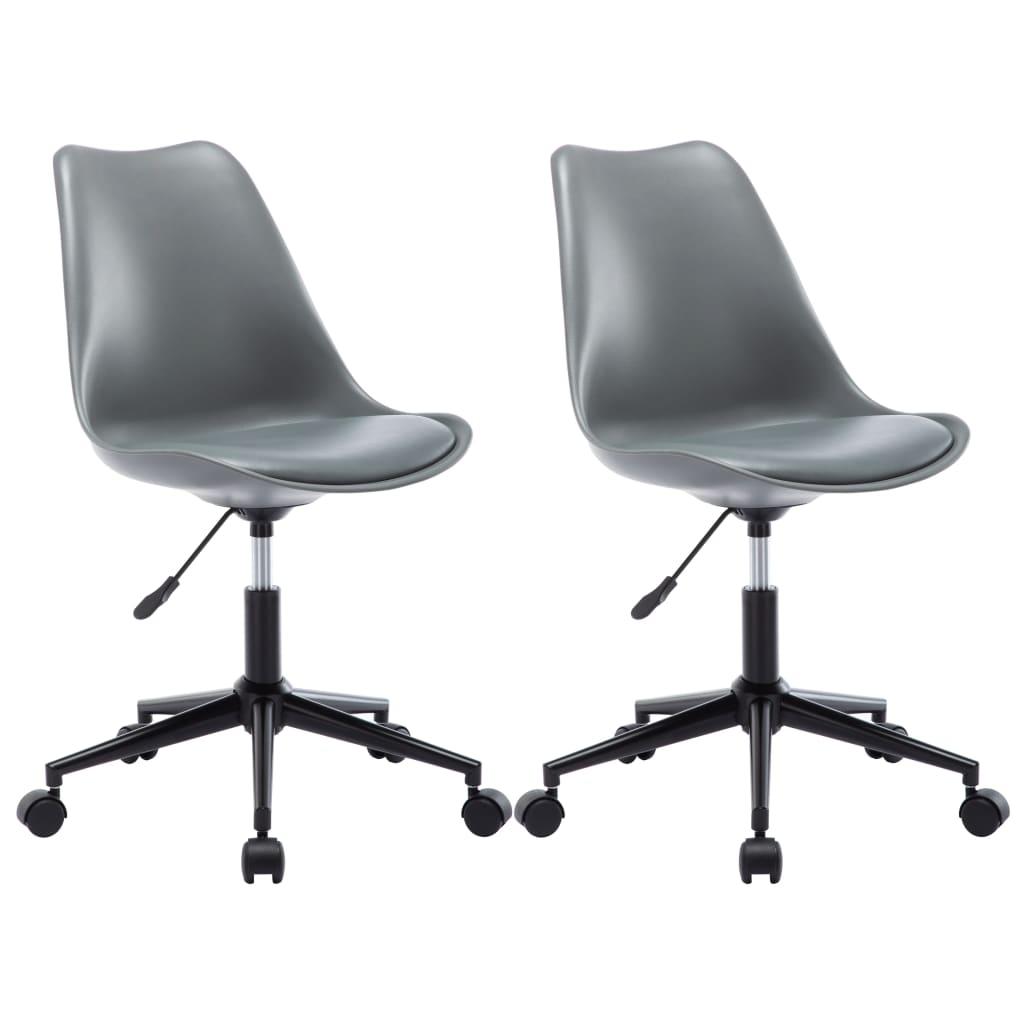vidaXL Otočné jedálenské stoličky z umelej kože 2 ks šedé