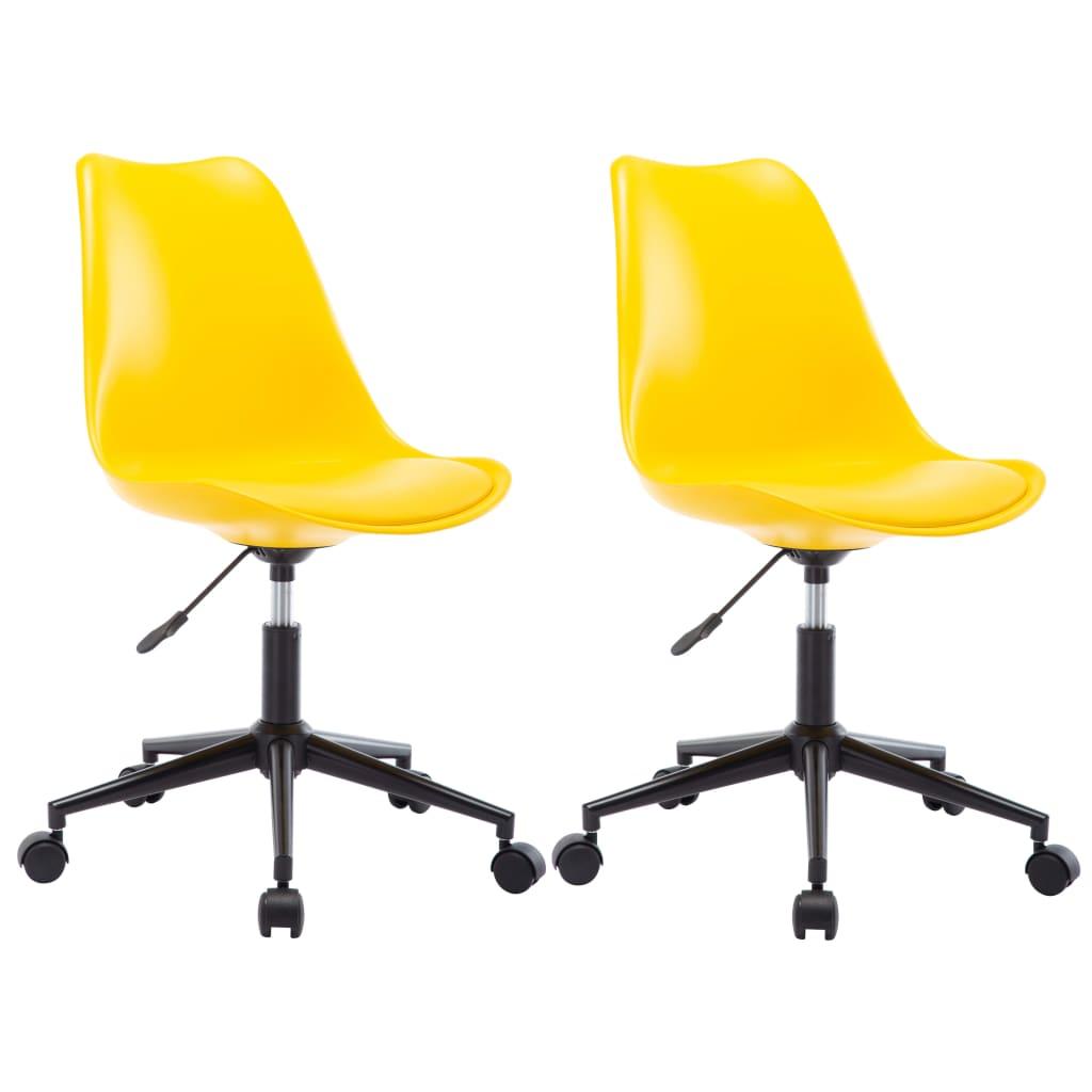 vidaXL Otočné jedálenské stoličky z umelej kože 2 ks žlté