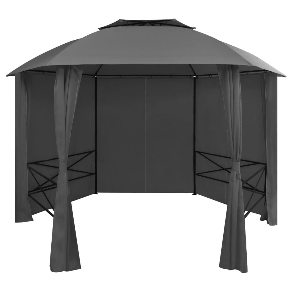 vidaXL Záhradný altánok/stan so závesmi, šesťuholník 360x265 cm