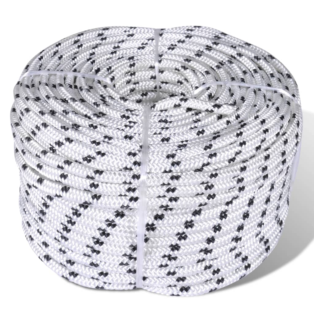 vidaXL Spletané lodné lano biele 6 mm 250 m polyester