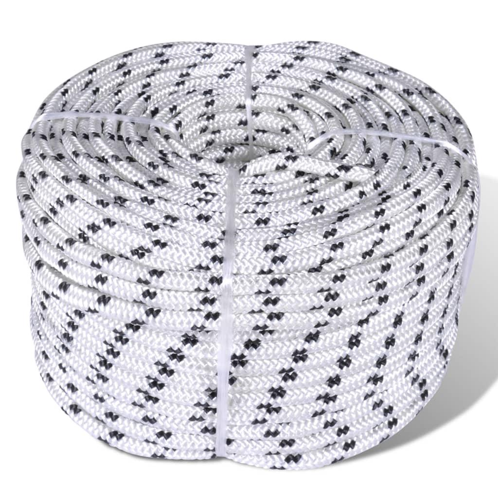 vidaXL Spletané lodné lano biele 10 mm 250 m polyester