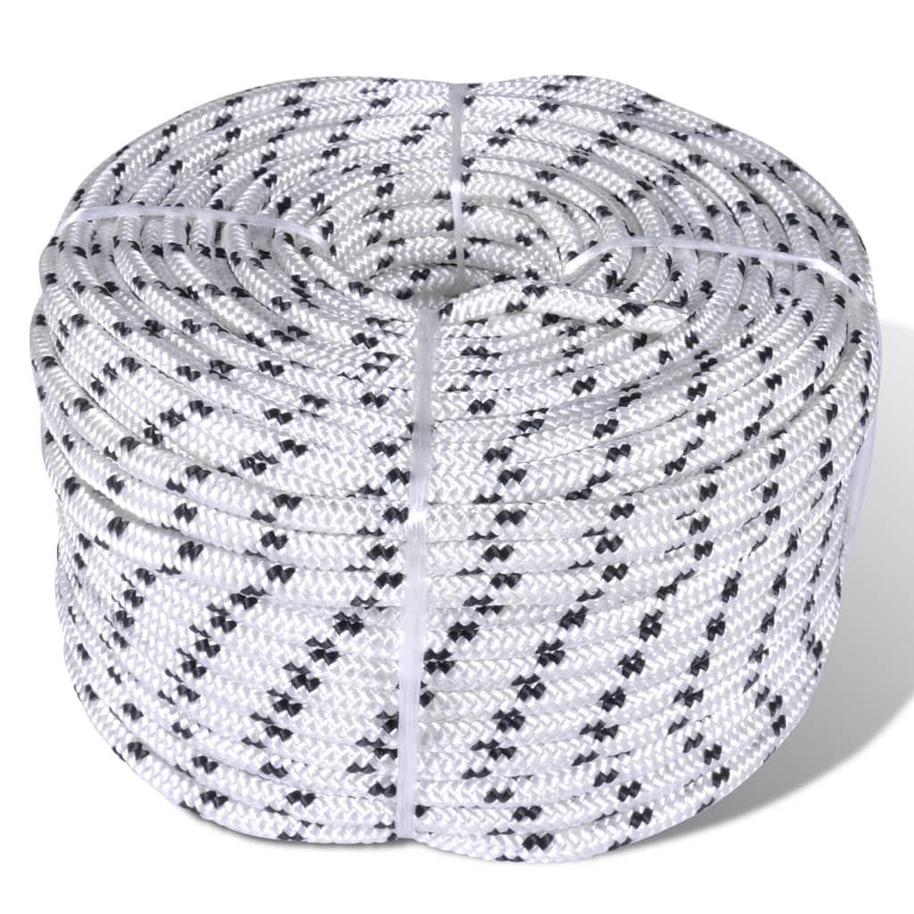 vidaXL Spletané lodné lano biele 12 mm 250 m polyester