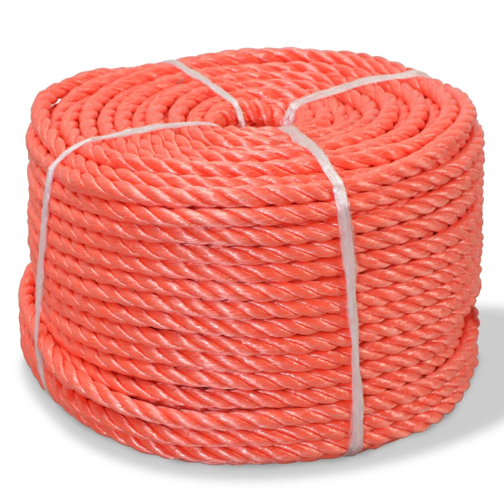 vidaXL  Pletené lano polypropylénové 10 mm 250 m oranžové