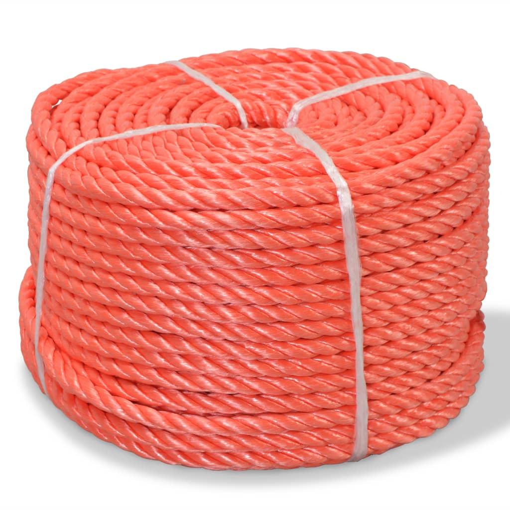 vidaXL Pletené lano polypropylénové 16 mm 250 m oranžové