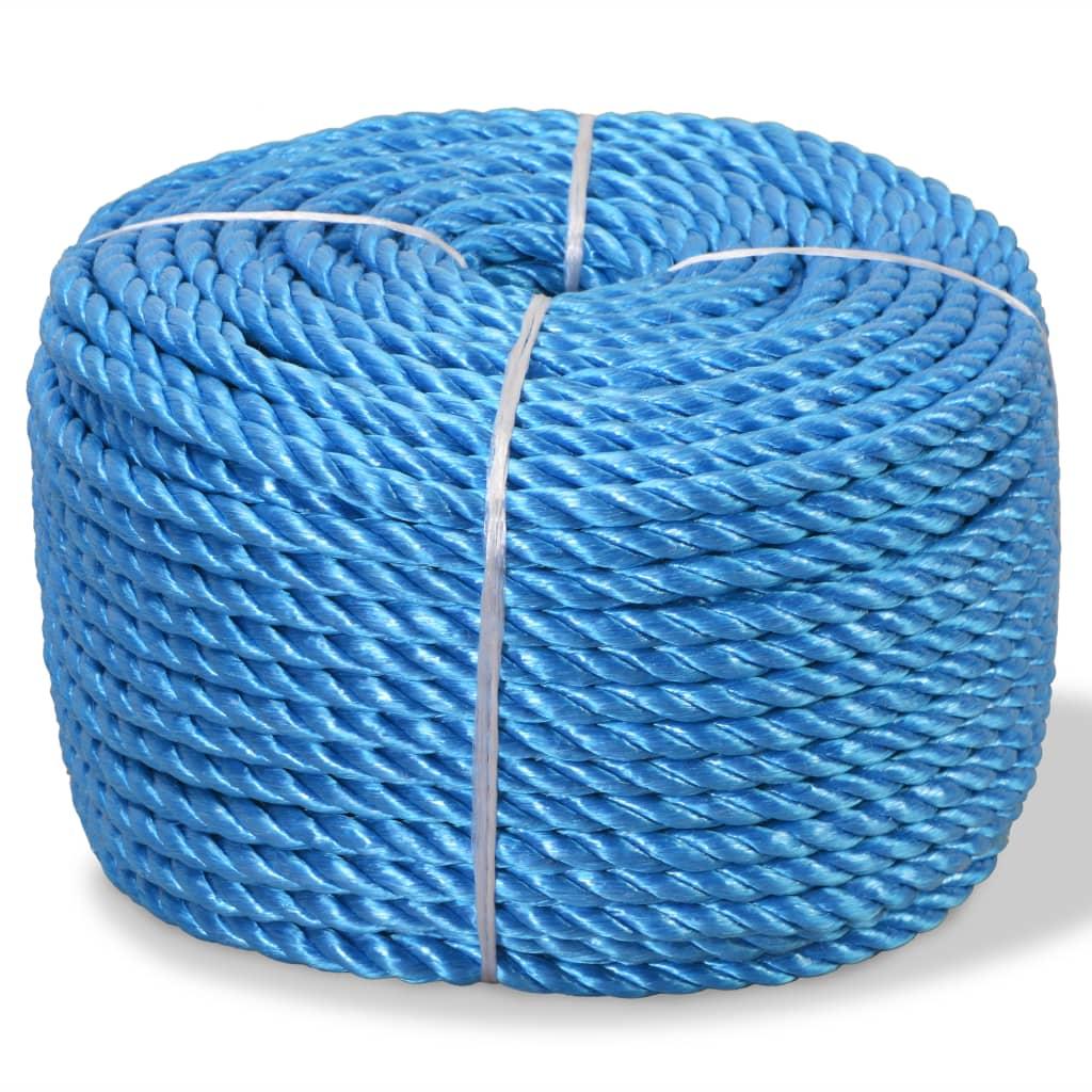 vidaXL Pletené lano polypropylénové 10 mm 250 m modré