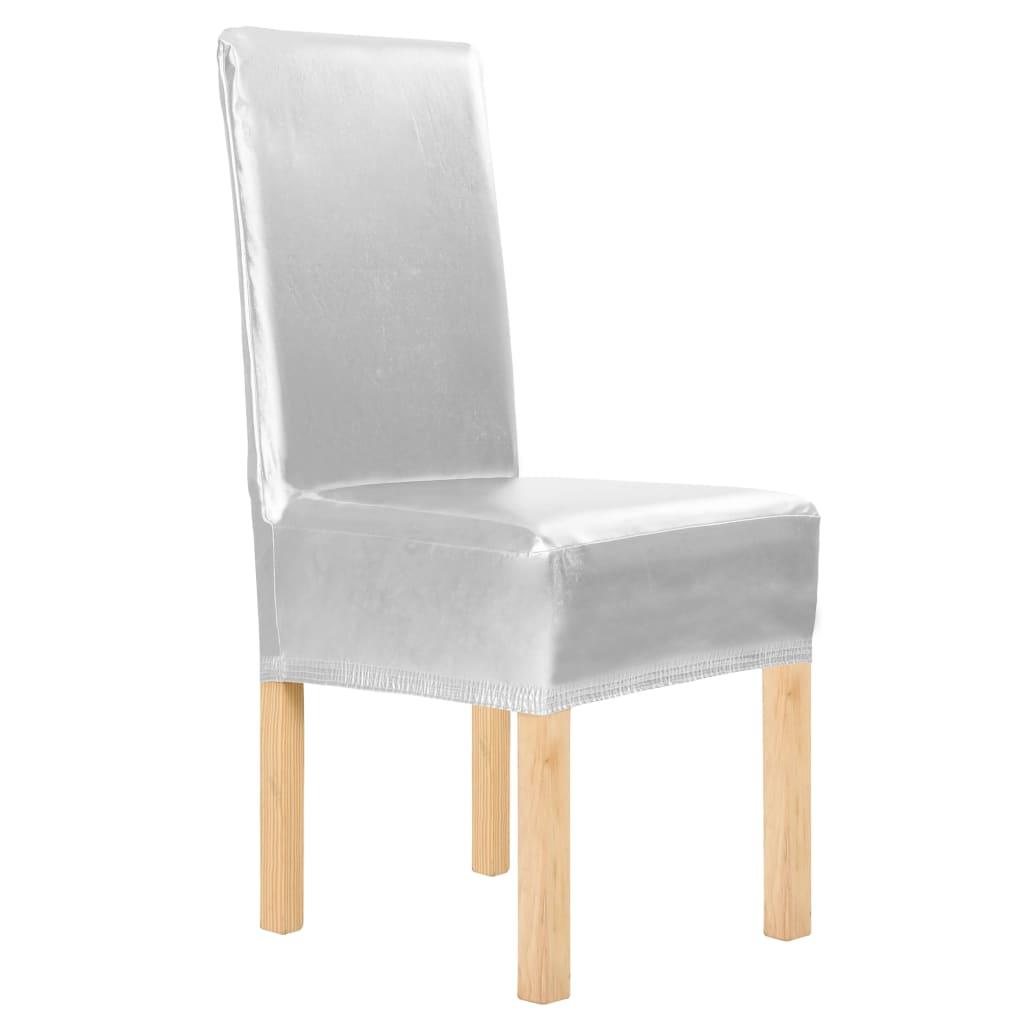 vidaXL Naťahovacie návleky na stoličky 6 ks strieborné