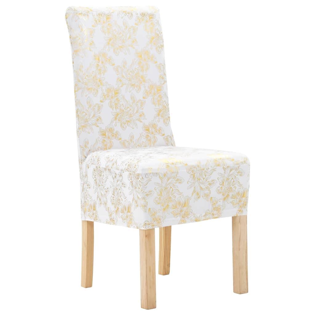 vidaXL Rovné návleky na stoličky 4 ks biele so zlatou potlačou naťahovacie