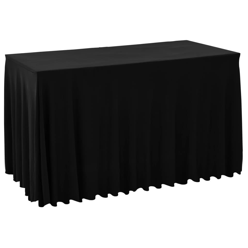 vidaXL Naťahovacie obrusy na stôl so závesom 2 ks čierne 243x76x74 cm
