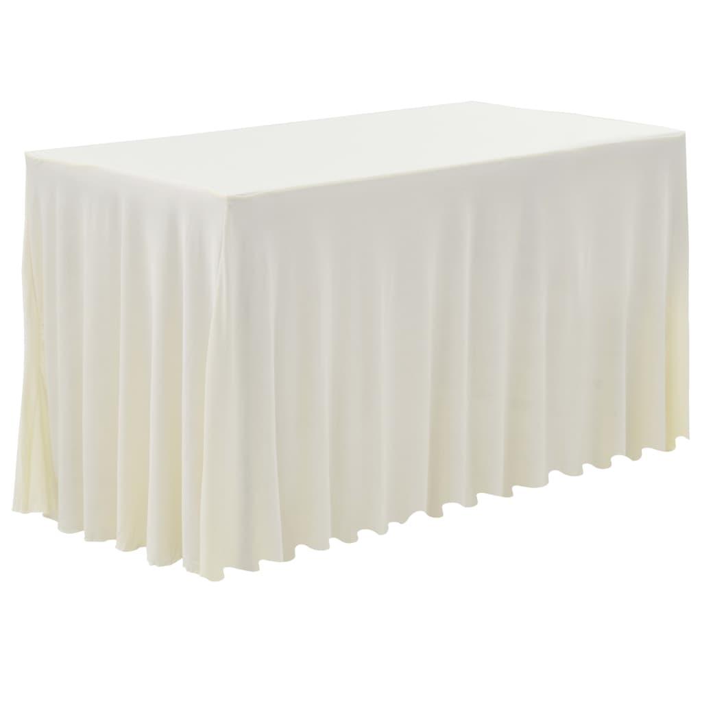 vidaXL Naťahovacie obrusy na stôl so závesom 2 ks krémové 243x76x74 cm