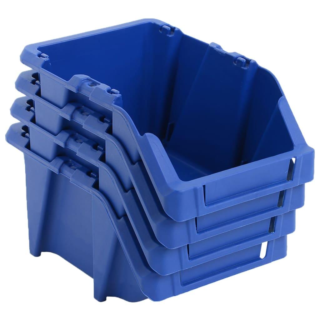 vidaXL Stohovateľné úložné boxy 250 ks, 103x165x76 mm, modré