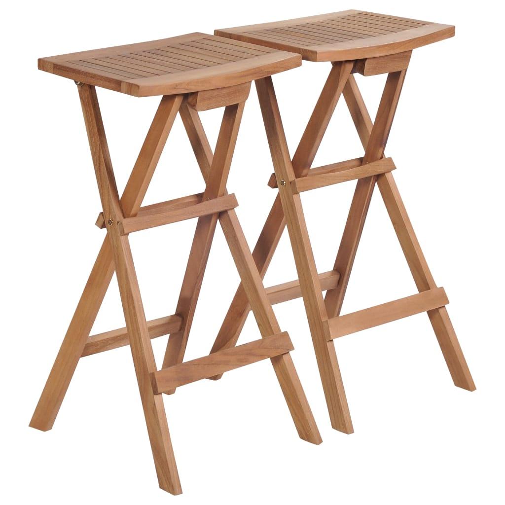 vidaXL Skladacie barové stoličky 2 ks z teakového dreva