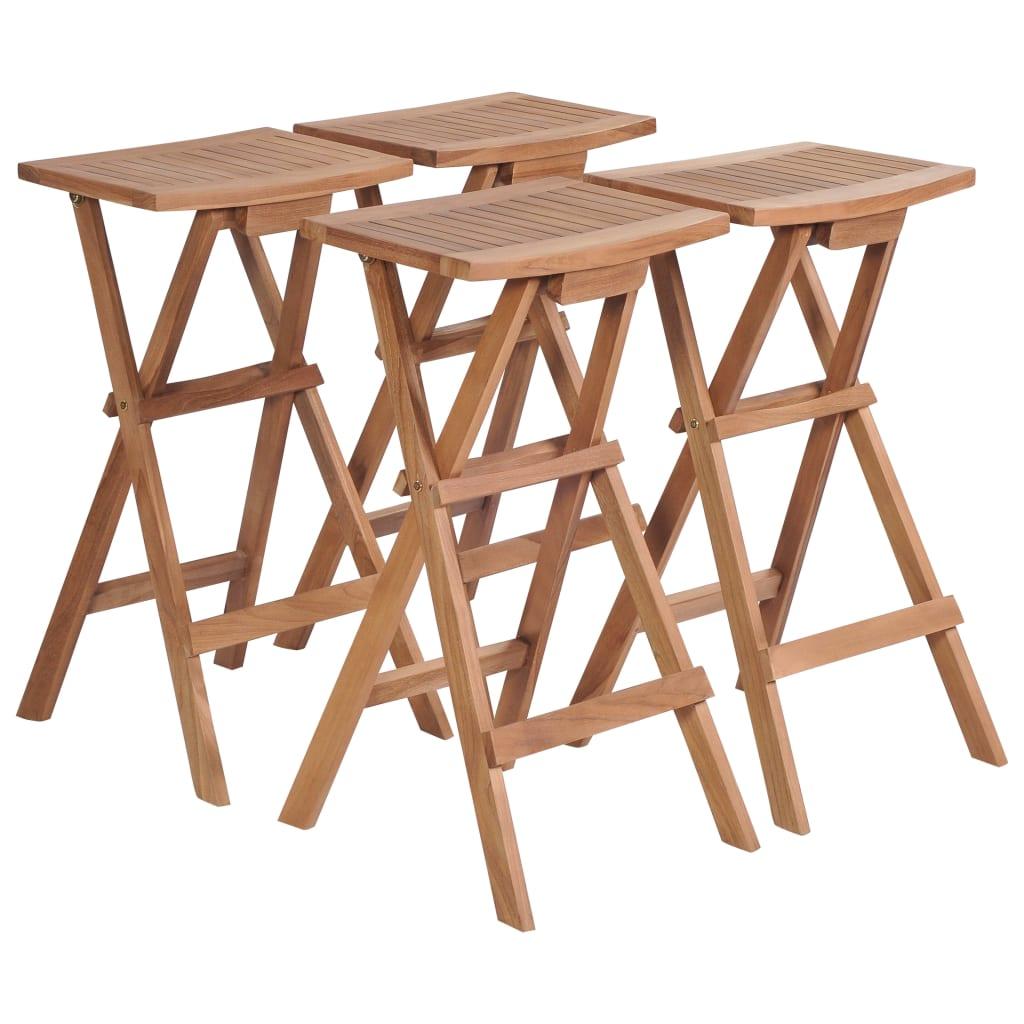 vidaXL Skladacie barové stoličky 4 ks z teakového dreva