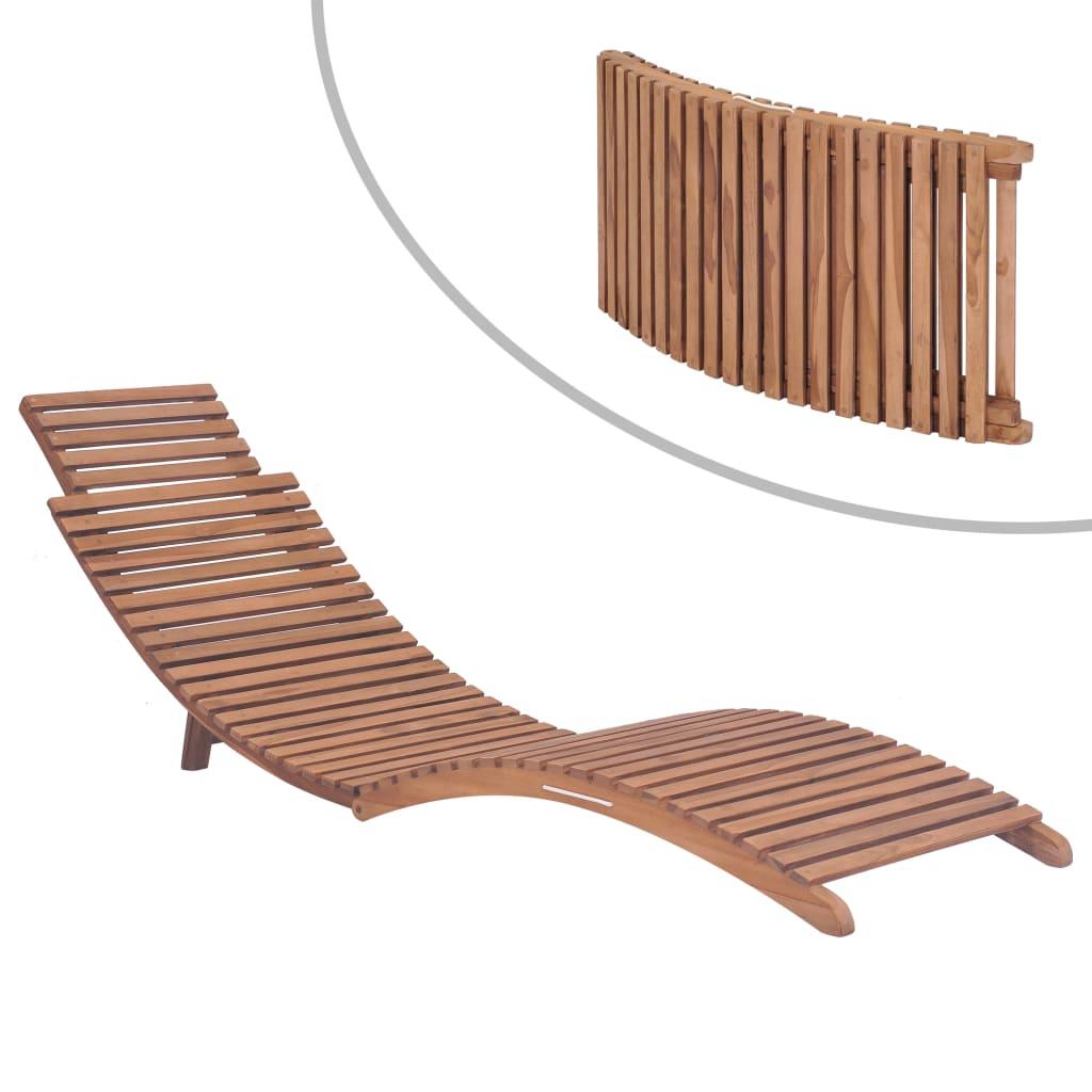 vidaXL Skladacie záhradné ležadlo z masívneho teakového dreva