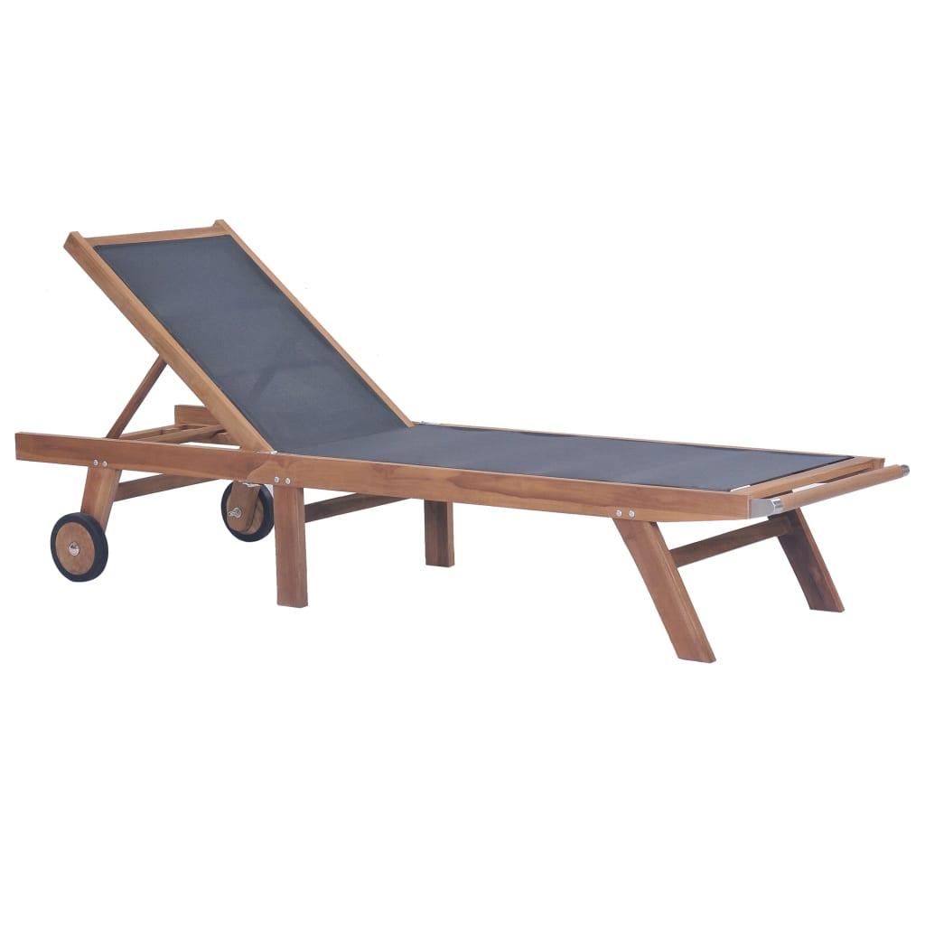 vidaXL Skladacie záhradné ležadlo s kolieskami teakové drevo textilén