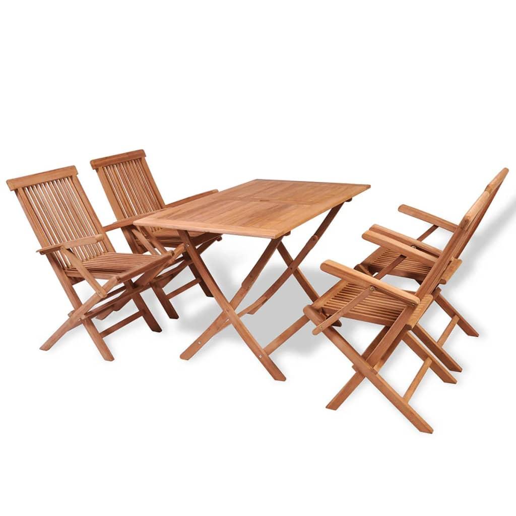 vidalXL 5-dielna záhradná jedálenská súprava z teakového dreva