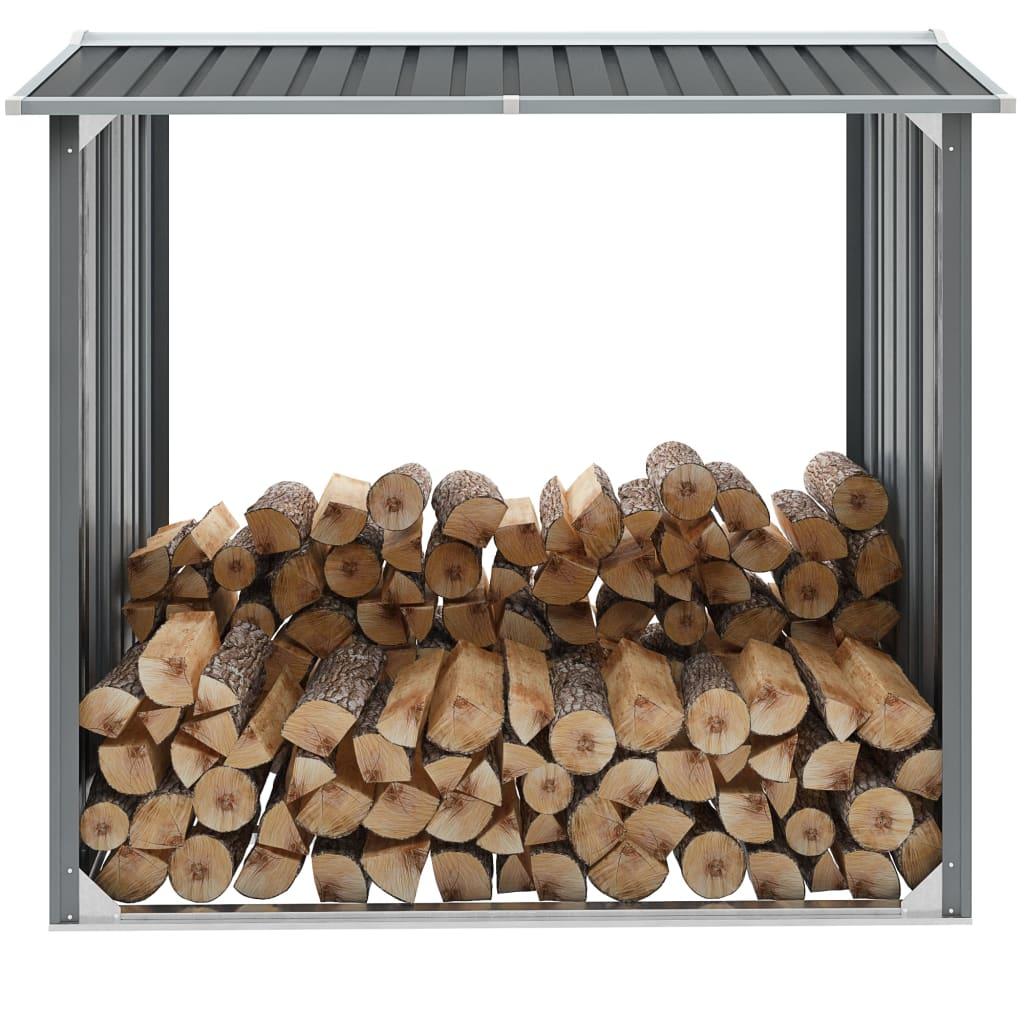 vidaXL Záhradná kôlňa na drevo z pozinkovanej ocele 172x91x154 cm sivá