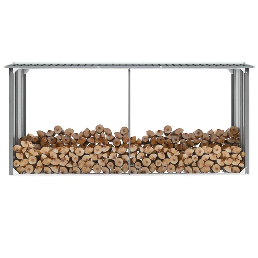 vidaXL Záhradná kôlňa na drevo galvanizovaná oceľ 330x92x153 cm sivá