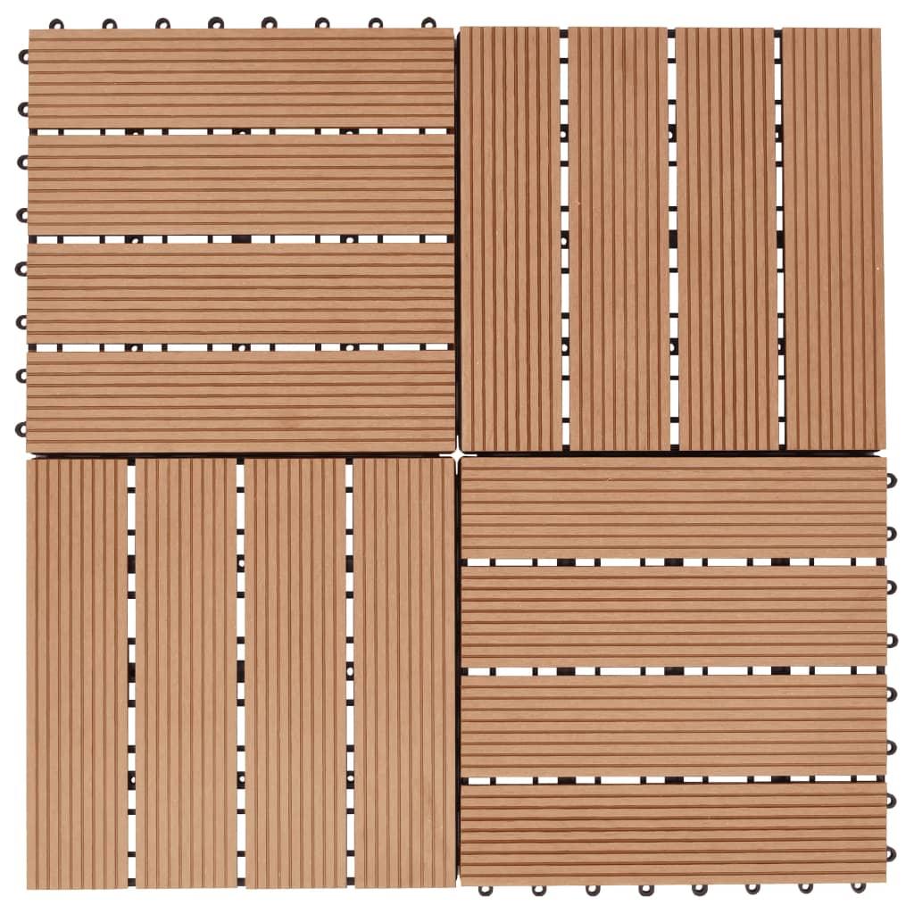 vidaXL Podlahová dlažba z WPC 11 ks 30x30 cm 1m2 farba teakového dreva