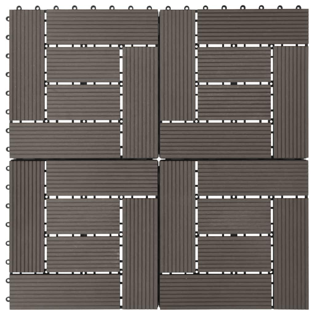 vidaXL Podlahové dlaždice z WPC 11 ks 30x30 cm 1 m2 tmavohnedé