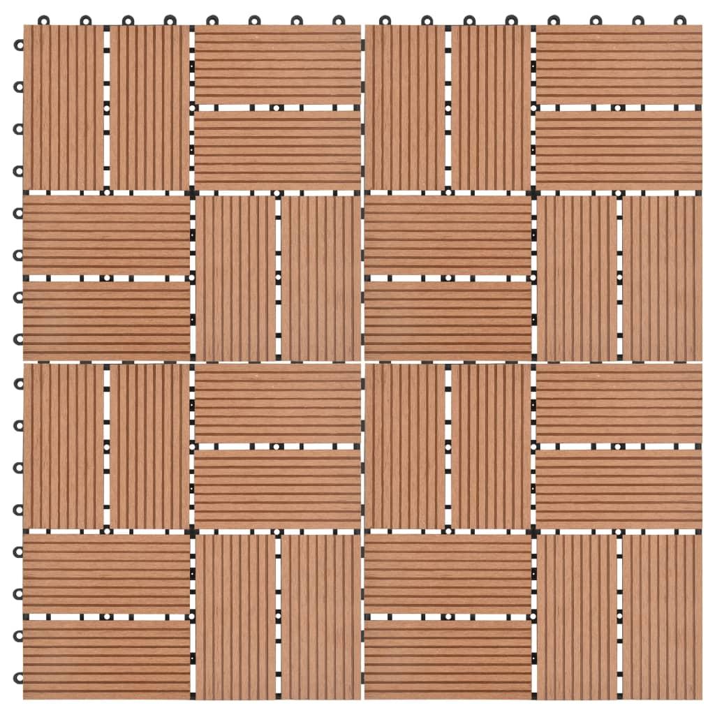vidaXL Podlahové dlaždice z WPC 11 ks 30x30 cm 1 m2 hnedé