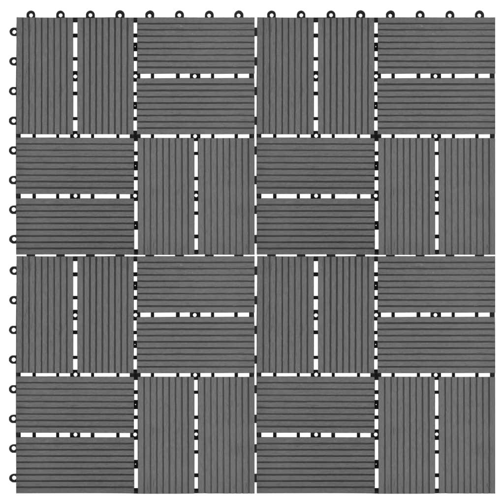 vidaXL Podlahové dlaždice z WPC 11 ks 30x30 cm 1 m2 šedé
