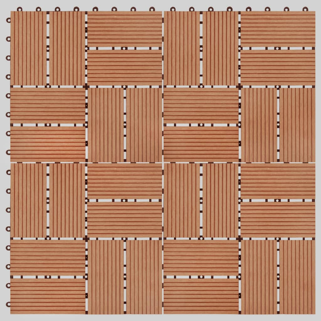vidaXL Podlahové dlaždice z WPC 11 ks 30x30 cm 1 m2 farba teaku