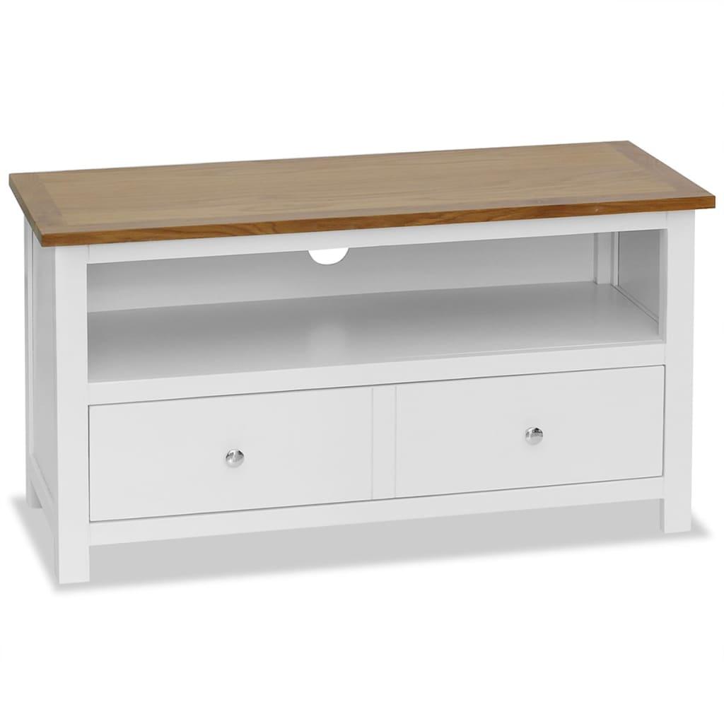 vidaXL TV stolík 90x35x48 cm masívne dubové drevo