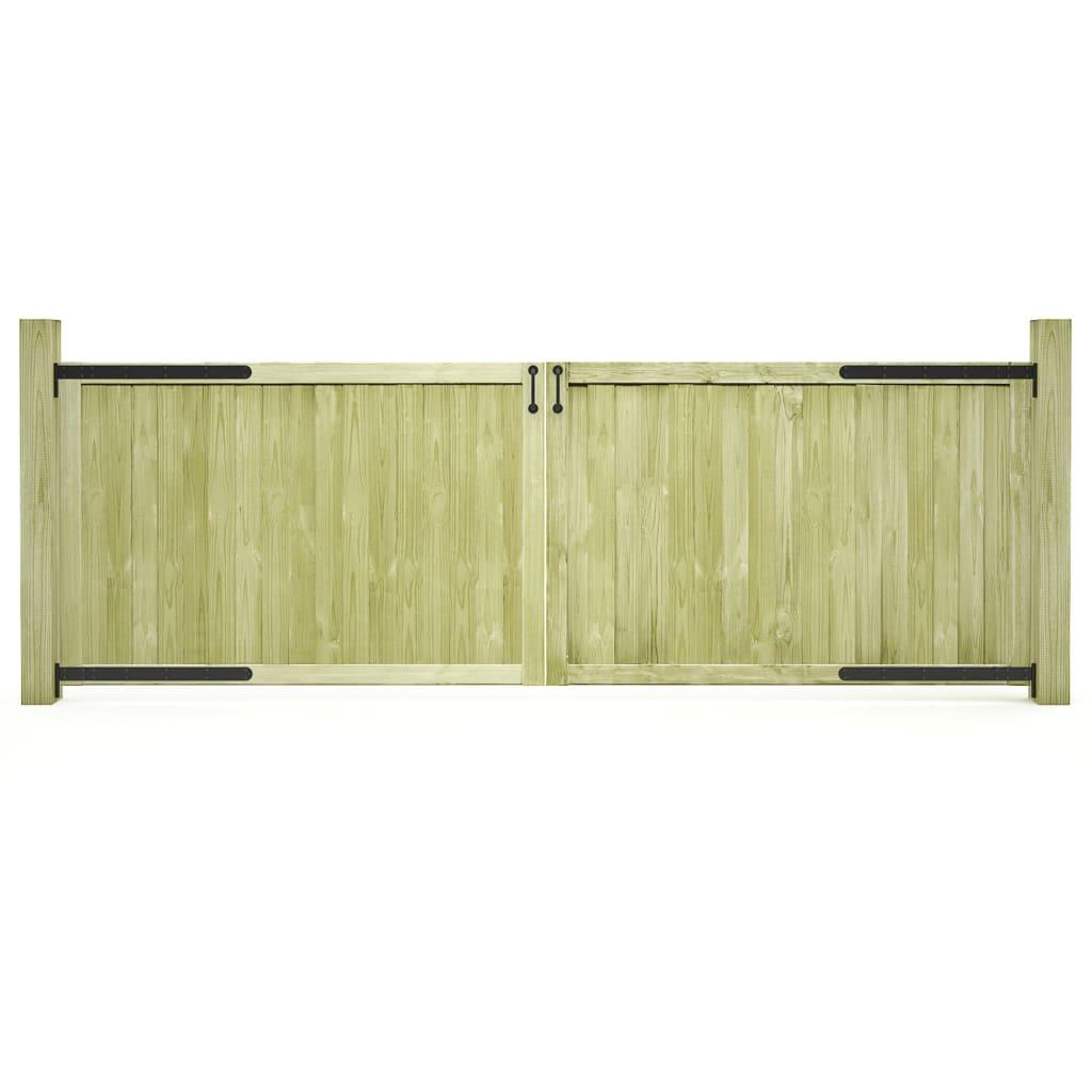 vidaXL Záhradné brány 2ks impregnované borovicové drevo FSC 300x100 cm