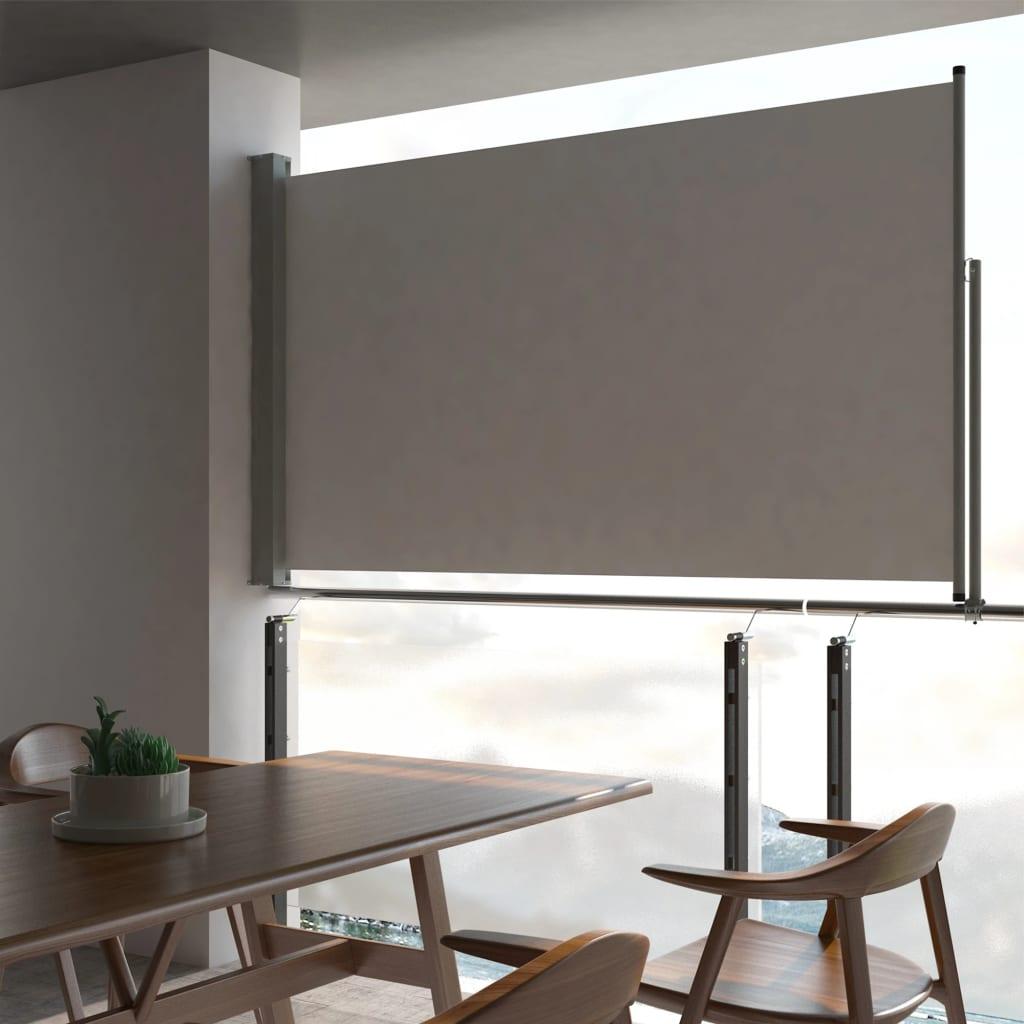 vidaXL Zaťahovacia bočná markíza na terasu sivá 140 x 300 cm