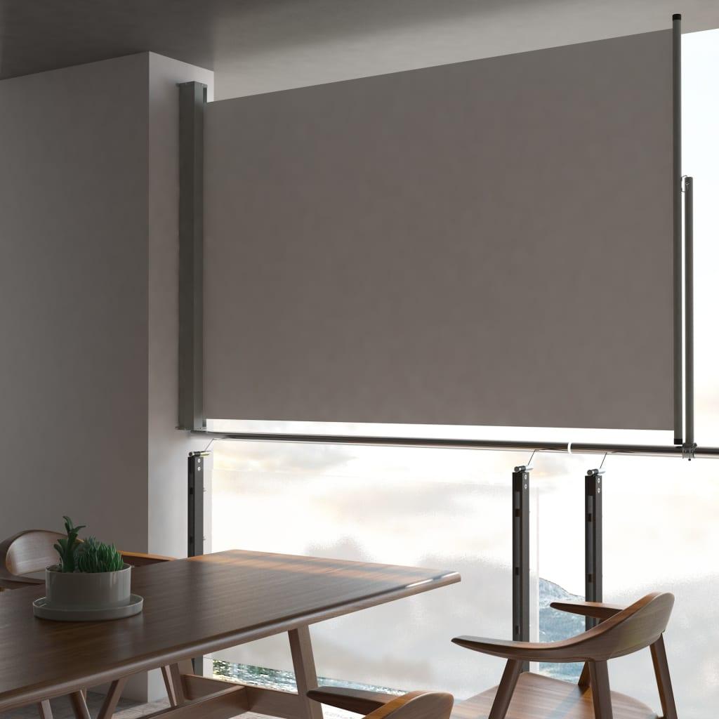 vidaXL Bočná zaťahovacia markíza na terasy/balkóny 160x300 cm šedá