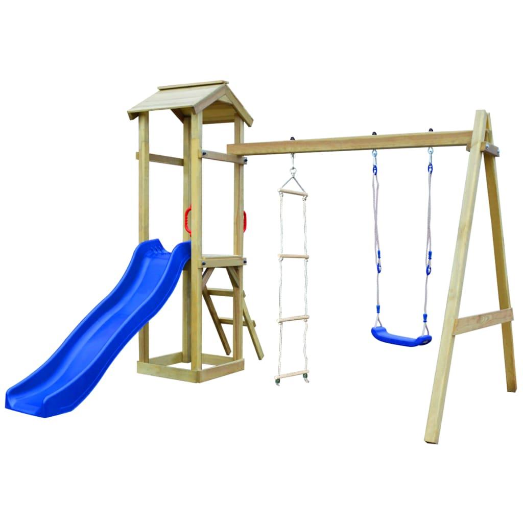 vidaXL Detské ihrisko so šmýkačkou, rebríkom a hojdačkou 242x237x218cm FSC drevo