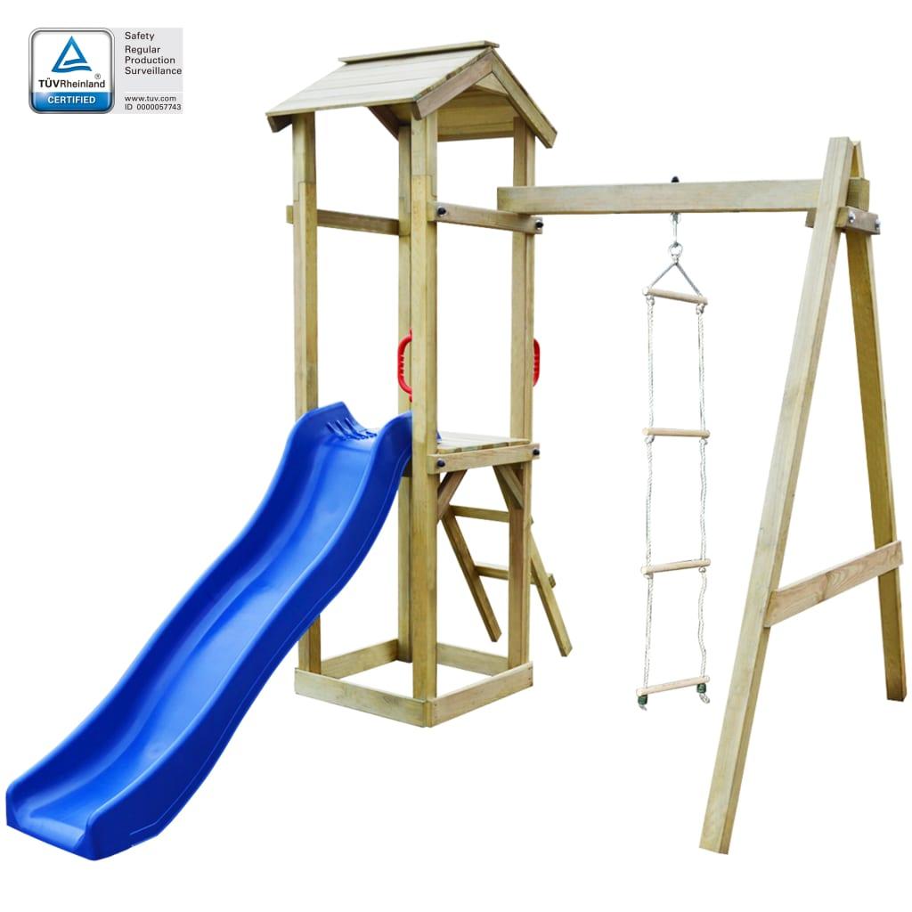 vidaXL Detské ihrisko + šmýkačka, rebríky 237x168x218 cm, FSC drevo