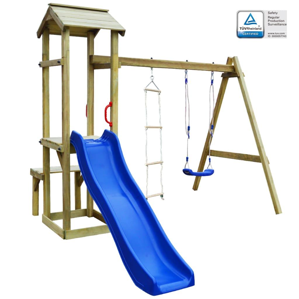vidaXL Detské ihrisko+šmýkačka hojdačka rebrík 238x228x218cm FSC drevo