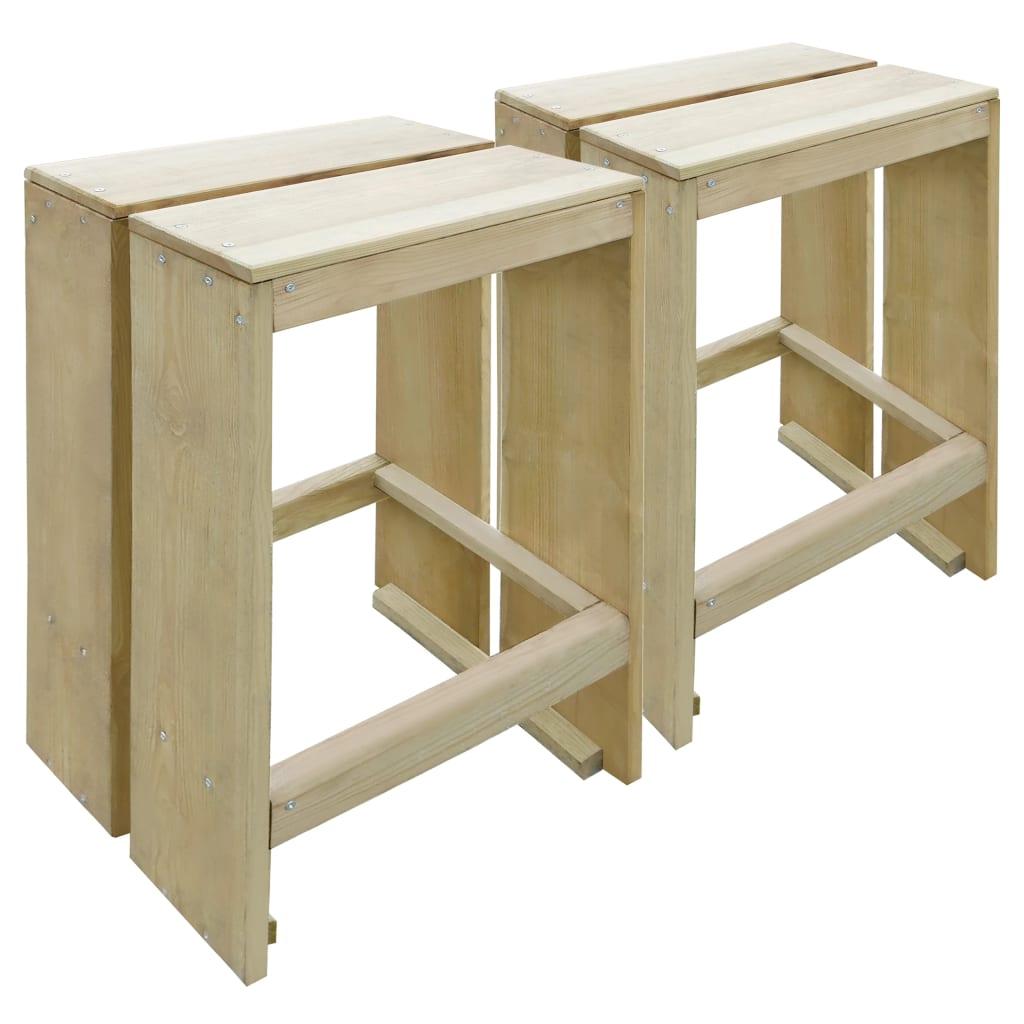 vidaXL Vonkajšie barové stoličky z borovicového dreva FSC
