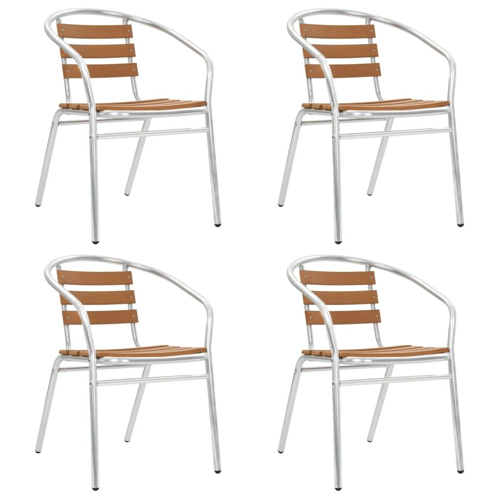 vidaXL Stohovateľné záhradné stoličky 4 ks hliník a WPC strieborné