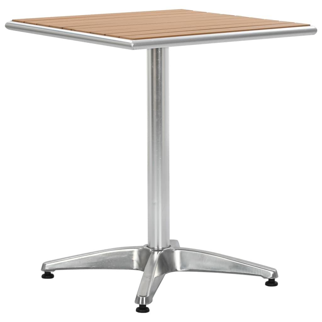 vidaXL Záhradný stôl strieborný 60x60x70 cm hliník a WPC