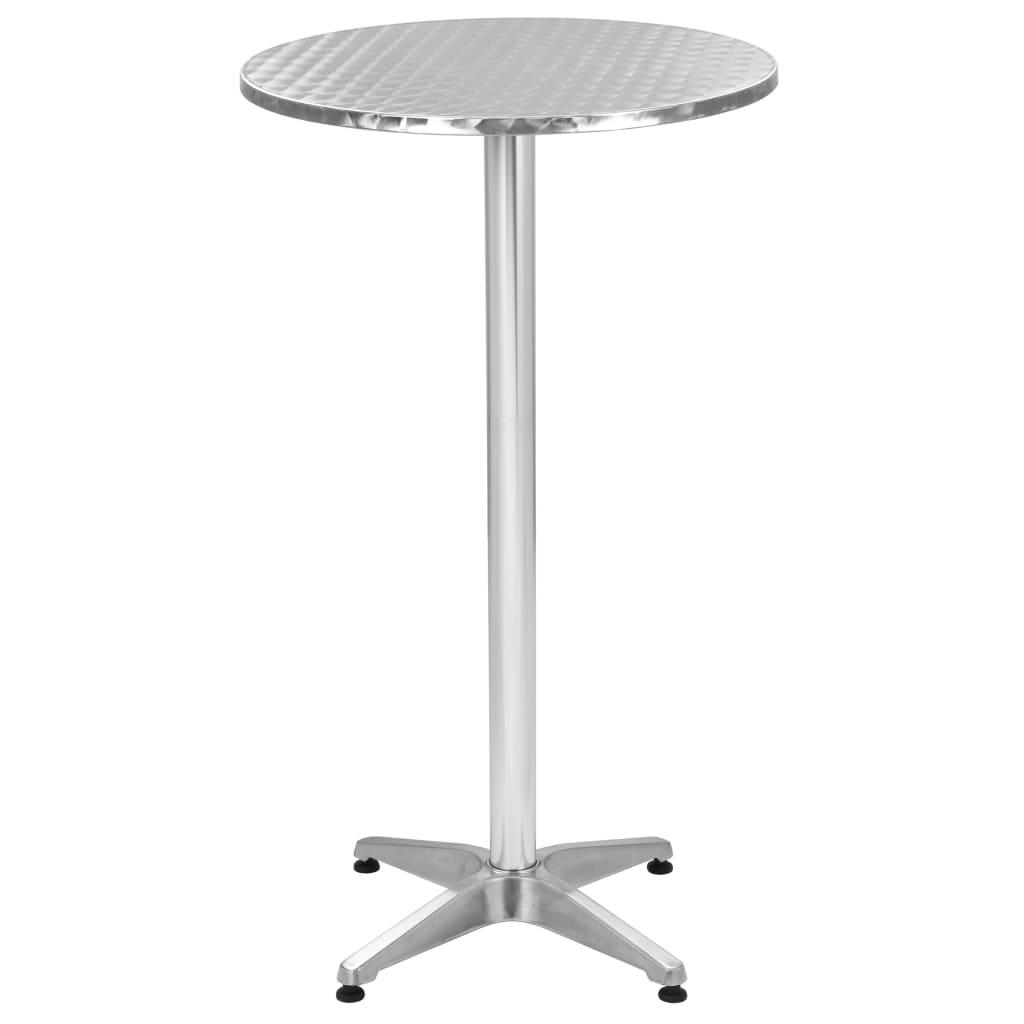 vidaXL Skladací záhradný stôl strieborný Ø 60 cm hliníkový