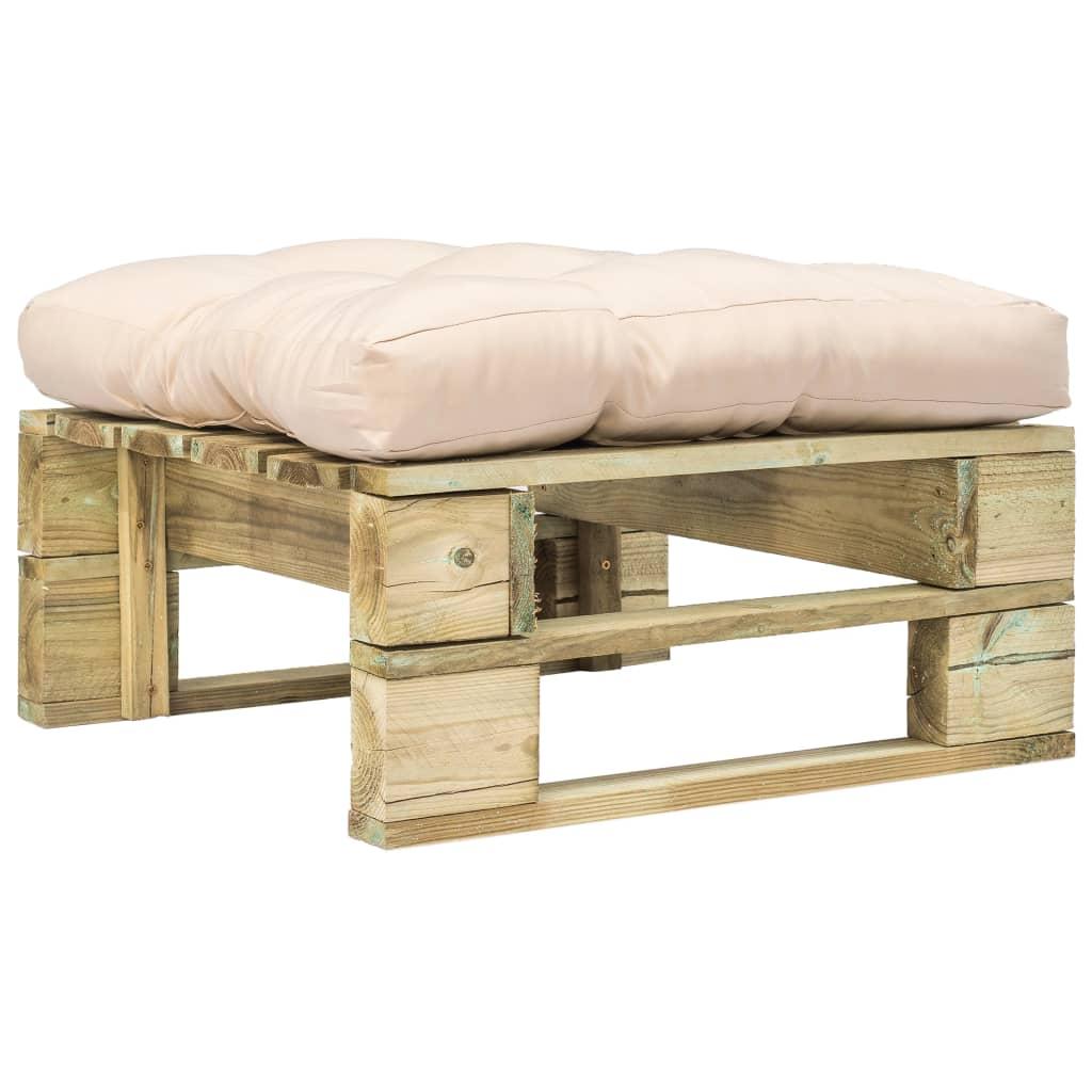 vidaXL Záhradný paletový otoman s pieskovými vankúšmi zelené FSC drevo